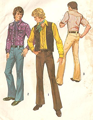 Men's Vintage Pants, Trousers, Jeans, Overalls 1970s shirt vest pants - Chest size 38  sewing pattern 5048 Mens  AT vintagedancer.com