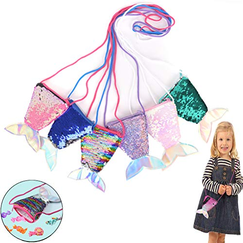 SUSHAFEN 6Pcs Mermaid Tail Purse Bags Pouch Sequins Coin Wallet Bag Glitter Girls Crossbody Bags for Money Change Card Candy Holder Novelty Girls Gift Bags Mermaid Party Supplies ()
