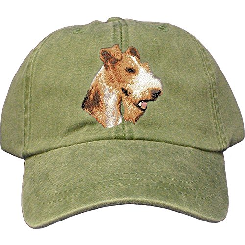 - Cherrybrook Dog Breed Embroidered Adams Cotton Twill Caps - Spruce - Wire Fox Terrier