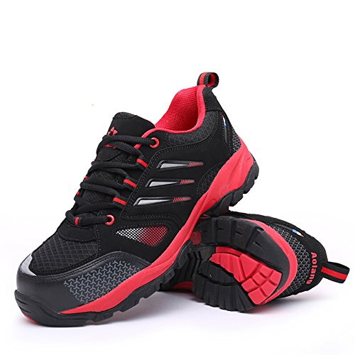 steel unisex proof shoes Red shoes shoes safety industrial toe work puncture amp;construction Black Agwqp4THxw
