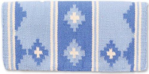 Mayatex Apache Pony Saddle Blanket, Crystal Blue Ice/Periwinkle/Cream, 24 x 24-Inch ()
