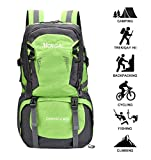 Kunpron 40L Mens Big Backpack,Outdoor Waterproof Lightweight Trekking Rucksacks for Hiking Camping Climbing Mountaineer,Green Backpack with Laptop Compartment