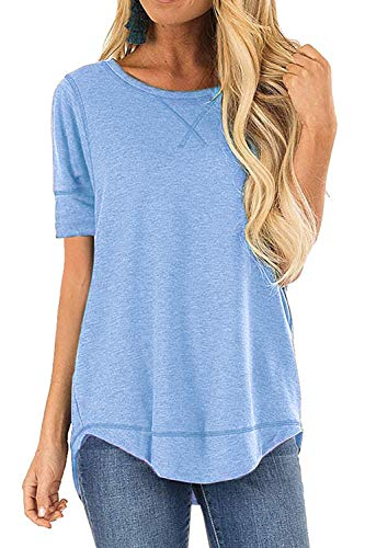 MixShe Summer Short Sleeve Shirts for Women Short Sleeve Casual T Shirts Loose Tunic Top Light Blue