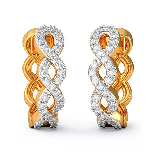 14K Or jaune 0,26CT TW White-diamond (IJ | SI) Boucles d'oreilles créoles