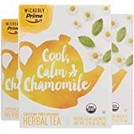 Wickedly Prime Organic Herbal Tea, Premium Chamomile Tea Sachets, 15 Count (Pack of 3)