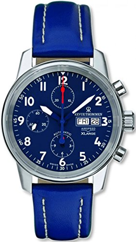 Revue Thommen Airspeed XLarge Men's Blue Dial Blue Leather Strap Automatic Chronograph Day Date Swiss Watch 16051.6535