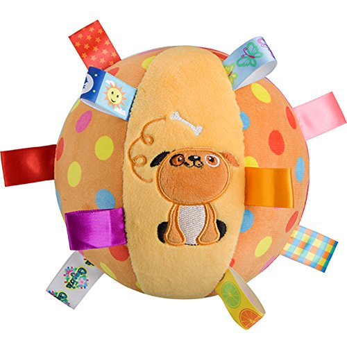 ZZ Lighting Baby Kid Infant Early Educational Soft Plush Tag Colorful Ball Hand Grasp With Bell Inside(Dog) by ZZ Lighting