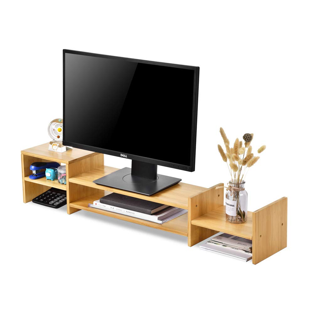 Monitor Stand Bamboo Computer Screen Riser with 2-Tier Office Desktop Storage Organizer