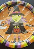 Halloween Party Supplies Pack - Halloween Table Cover, Halloween Plates and Halloween Napkins - Witch, Pumpkin, Bats and Spider, 18 Guests