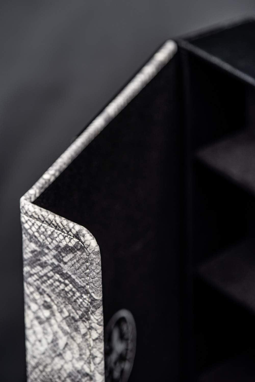schwarz Fleur Royale Brillenbox Mehrbrillenetui Brillenetui f/ür bis zu 4 Brillen mit Magnetverschluss Quartett Klapperschlange Gr/ö/ße 246x175x51mm robust /& edel