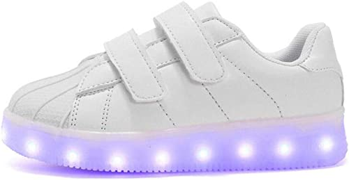 Niños Que se cargan con USB Zapatillas Intermitentes 7 Colores Luminous Sports Shoes Girl Shell Head Doble Velcro Transpirable Casual Low-Top Sneakers (Color : White, Size : 27): Amazon.es: Zapatos y complementos