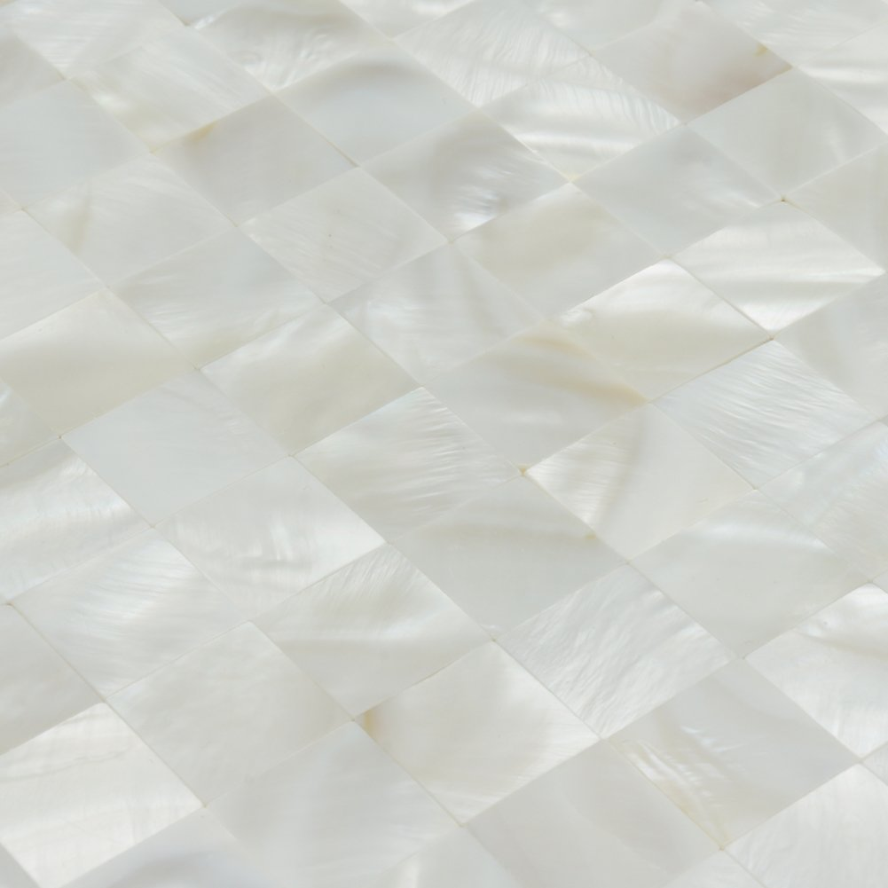 Art3d Mother of Pearl Shell Mini Square Seamless Mosaic Tile for Kitchen Backsplash, White, 12'' L X 12'' W by Art3d