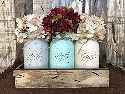 Mason Canning Jar Table Centerpiece with 3 Hand Painted Ball QUART Jars in Distressed Wood Tray rusty handles - SOFT GRAY, SEAFOAM, CREAM (pictured) -Hydrangea Flowers are optional *BEAUTIFUL*