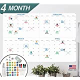 """Large Dry Erase Wall Calendar - 24"""" x 36"""" - 2018 Jumbo 4 Month Task Organizer - Giant Erasable Oversized Planner for Home Office Business Class Room Dorm - Annual Quarterly Yearly Undated Project Plan"""