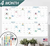 Large Dry Erase Wall Calendar - 24'' x 36'' - 2018 Jumbo 4 Month Task Organizer - Giant Erasable Oversized Planner for Home Office Business Class Room Dorm - Annual Quarterly Yearly Undated Project Plan
