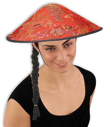 Forum Novelties China Coolie Hat with Braid -