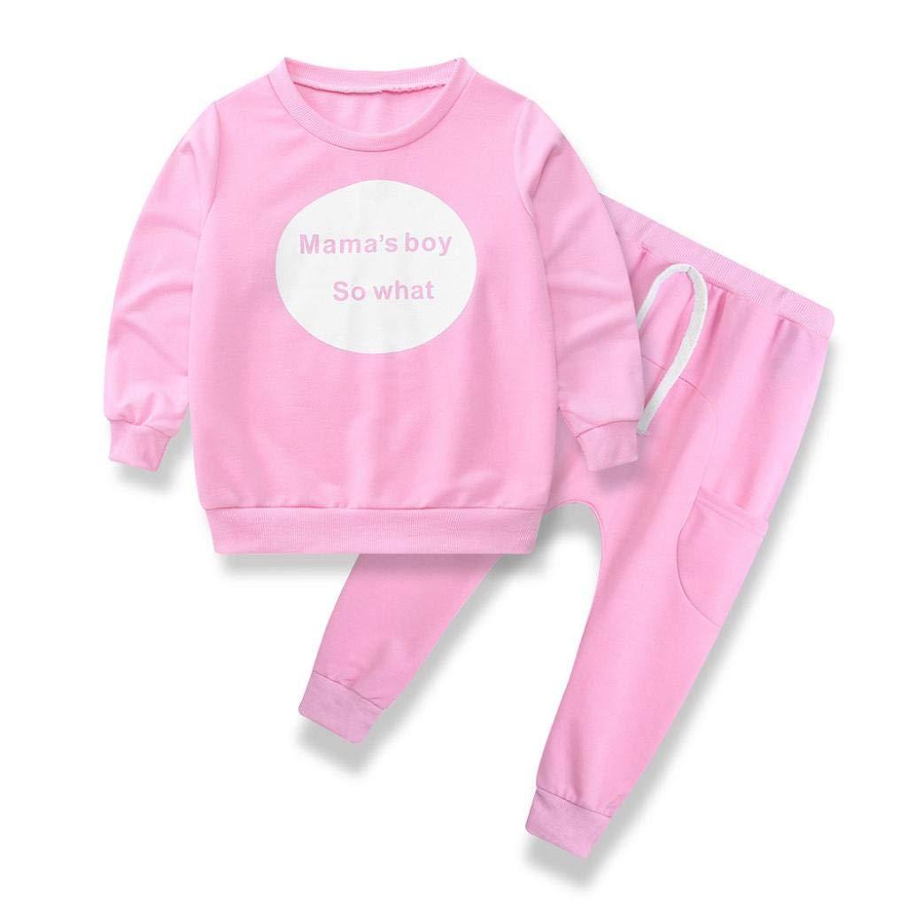 Suma-ma (12M-4T Toddler Kids Baby Girls Boys Monogrammed Kids' Long Sleeve T-Shirt Tops+Pants 1Set