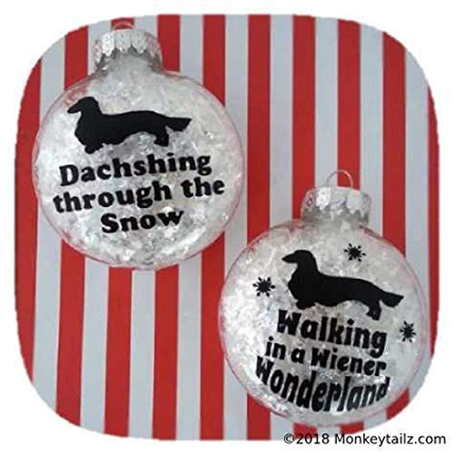 Long Hair Dachshund Christmas Ornament Set of 2 - Gift for Doxie Lovers