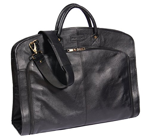Real Leather Suit Dress Carrier Travel Weekend Garment Clothing Bag HOL933 Black - Leather Garment Carrier
