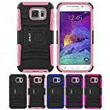 Galaxy S6 Case, HLCT Rugged Shock Proof Dual-Layer PC and Soft Silicone Case With Built-In Kickstand for Samsung Galaxy S6 (2015) (Pink)