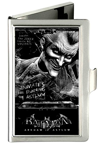 Buckle-Down Metal Wallet - Batman Arkham Asylum Joker Pose Brushed Silve Accessory at Gotham City Store