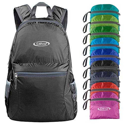 G4Free Ultra Lightweight Packable Backpack Travel Hiking Daypack Handy Foldable Water Resistant Camping Outdoor Backpack(Black)