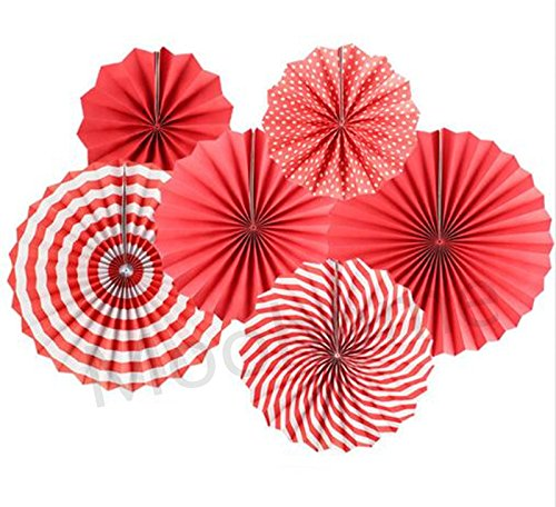 Red Paper Lanterns - Moohome Red Hanging Paper Fans Set,Colorful Round Pattern/Paper Garlands for Party/Wedding/Birthday/Festival/Christmas/Event 6pc/Set