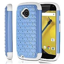 Fosmon Motorola Moto E (2nd Gen, 2015) (HYBO-SD) Star Diamond Hybrid Dual Layer Silicone Case Shell Cover (Sturdy Form-Fitted) for Motorola Moto E (2nd Gen, 2015) - Fosmon Retail Packaging (Sky Blue/White)