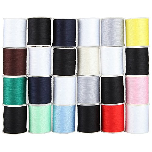 Home-X - Polyester Sewing Thread Set, Variety Pack of Durable Thread that Resists Fraying and Breaking, 12 Colors, 24 Spools, 200 Yards - 12 Polyester Thread Spools