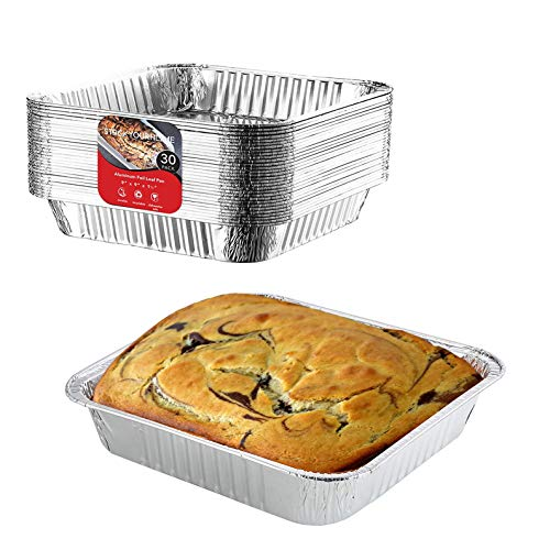 "(9 x 9 Aluminum Baking Pans (30 Pack) Recyclable Square Tins | Disposable Standard Size Cookware with High Heat Conductivity Great for Baking, Cooking, Heating, Storing, Prepping Food – 9"" x 9"" x 2"")"