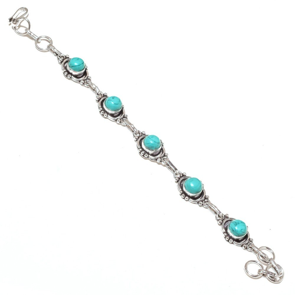Blue Turquoise Sterling Silver Overlay 15 Grams Bracelet 7-9 Long Best Jewelry