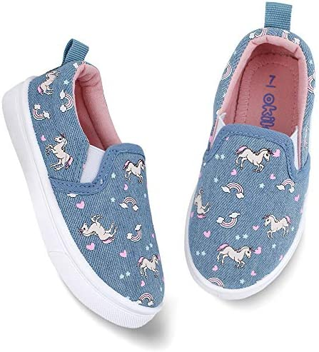 F-OXMY Toddler Little Kids Breathable Soft Canvas Sneaker Boys Girls Slip-On Elastic Casual Shoes