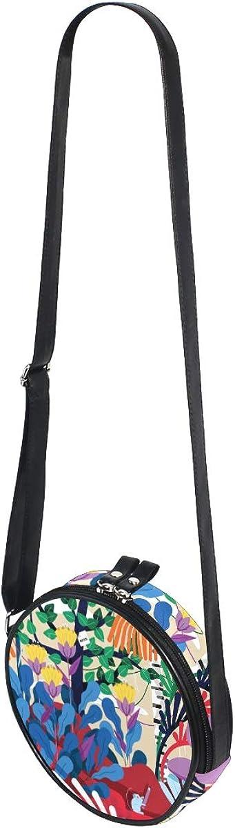 KEAKIA Office Mural Round Crossbody Bag Shoulder Sling Bag Handbag Purse Satchel Shoulder Bag for Kids Women