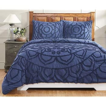Image of Better Trends Cleo Collection in Floral Design 100% Cotton Tufted Chenille, King Comforter Set, Navy Home and Kitchen