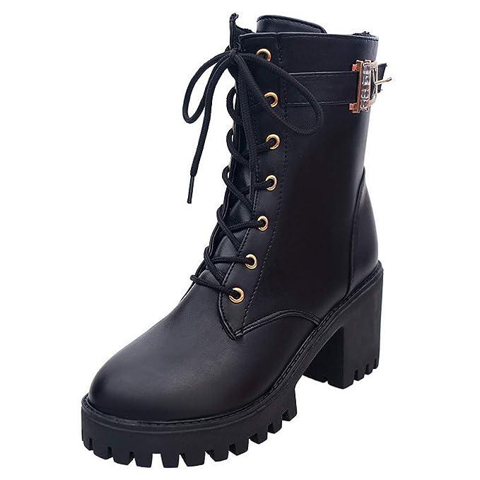 Mujer Botas tacón Alto Botas Encaje hasta el Tobillo Zapatos Damas Botines Planos para Mujer Zapatos