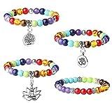 Jstyle Anxiety Bead Bracelet for Women Mens 7 Chakra Bracelet Buddhism Faith Lotus
