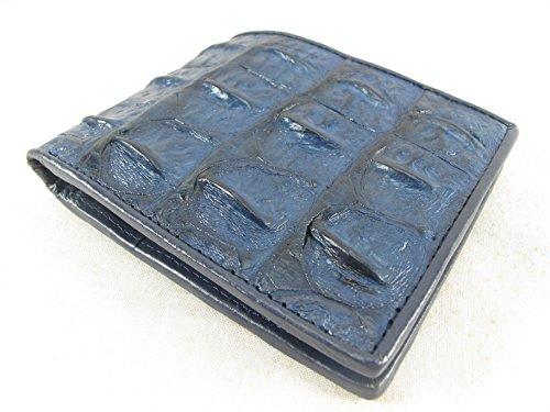 PELGIO Genuine Crocodile Alligator Backbone Skin Bifold Wallet (Cobalt Blue)