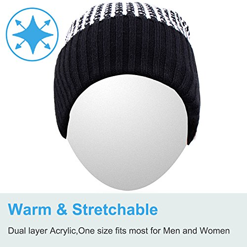 Qshell Outdoor Trendy Bluetooth Slouchy Knit Beanie Hat Cap with Stereo Headphone Headset Earphone Speaker Microphone…