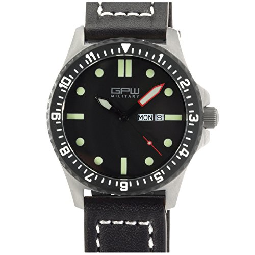 German Military Titanium Watch. GPW Day Date. Sapphire Crystal. Black Leatherstrap. 200M W/R (German Watches For Women)