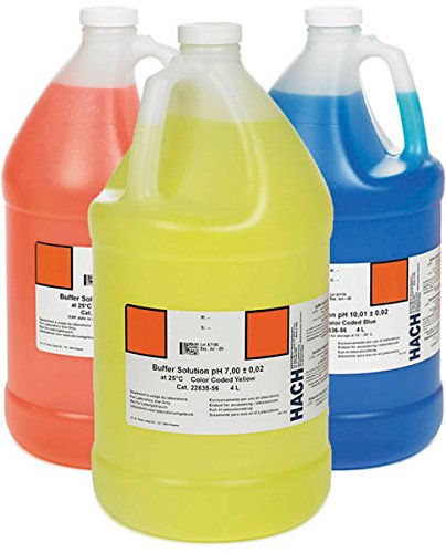 Hach 2507200 Ph Buffer Solution Kit, Color-Coded, Ph 4.01, Ph 7.00 and Ph 10.01 by Hach Company