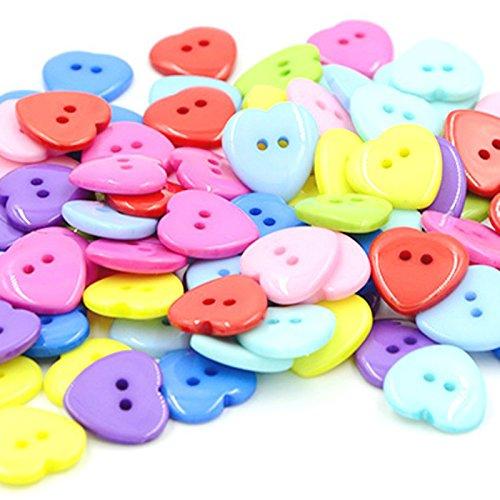 Outflower 100pcs colorato a forma di cuore pulsanti 2fori bottoni in resina per bambini a forma di cuore carino decorazione bottoni per cucire/scrapbooking/fai da te a mano–colore casuale 15mm