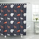 Emvency Shower Curtain Forest Animals Fox Bear Deer Wolf on Dark Blue Waterproof Polyester Fabric 60 x 72 Inches Set with Hooks