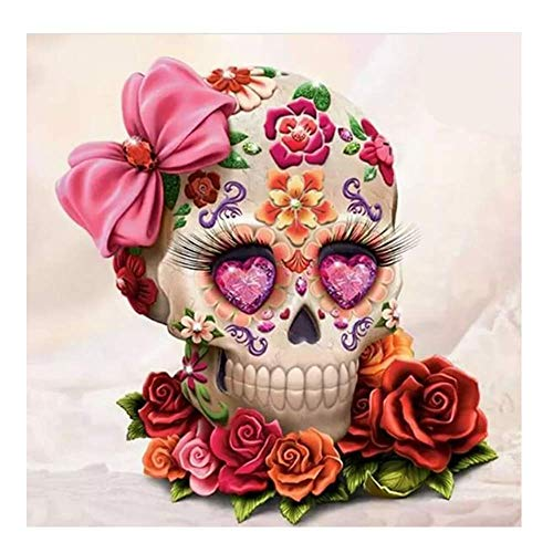 5D DIY Diamond Painting Kits for Adults Full Square Drills Sugar Skull Flower Picture Embroidery Cross Stitch Art Craft Wall Home Decor ()