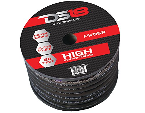 DS18 PW-0GA-50BK-2pk 50-Feet True 0 Gauge Power Cable (Black) - Set of 2