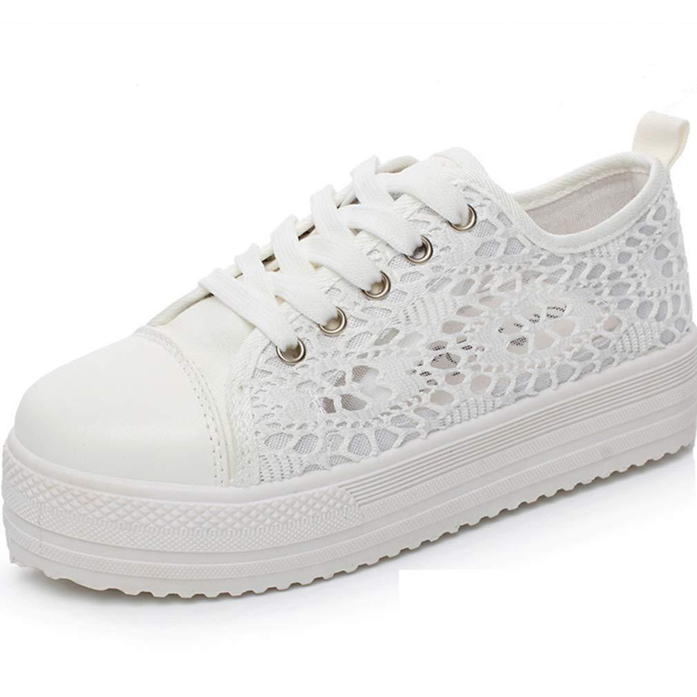 Nouveau Femmes Marcher Sneaker Trainers Mesdames Confortable Chaussures À Lacets en Toile Maille Floral Respirant Plateforme Tennis Baskets 35-41