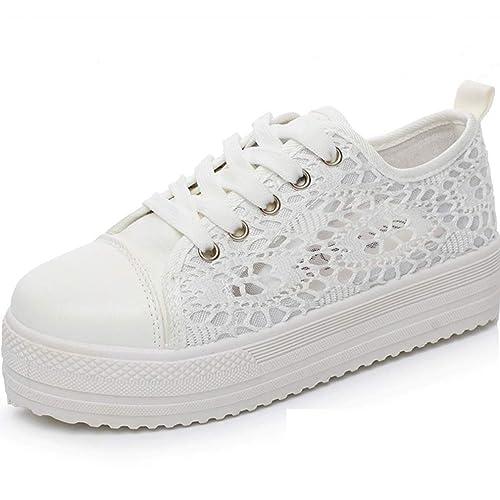Yying Sneakers Alte da Ginnastica Traspiranti in Mesh Traspirante con Tacco  Alto da Donna Bianca 35 9caa8400533