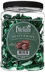 Peppermint Double Milk Chocolate Truffle Cremes - Dilettante 24oz Tub