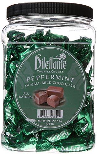 Peppermint Double Milk Chocolate Truffle Cremes - Dilettante 24oz Tub