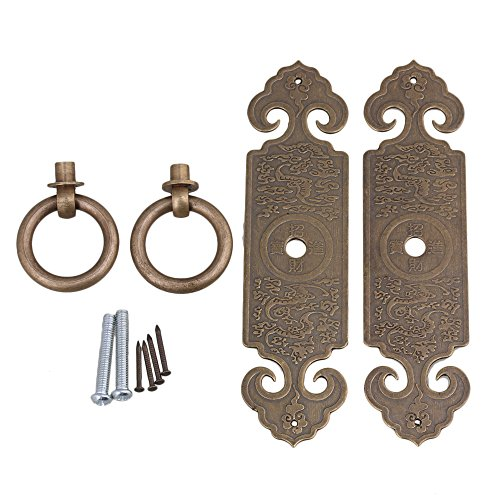 RDEXP 12 x 3.2cm Brass Straight Cabinet Door Pull Handle Plate Drawer Bronze with Screw and Nails Fit for Furniture Cupboard Set of 2 -