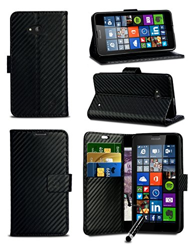 For Nokia 3.1 (2018) TA-1049 - Black Flip Wallet Book Phone Case Carbon Fibre Effect Luxury Professional Classic Texture Style Phone Case Cover with Mini Stylus Pen -